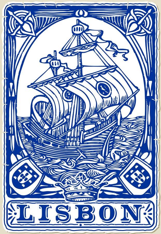 Tuiles traditionnelles Azulejos Lisbonne, Portugal illustration libre de droits
