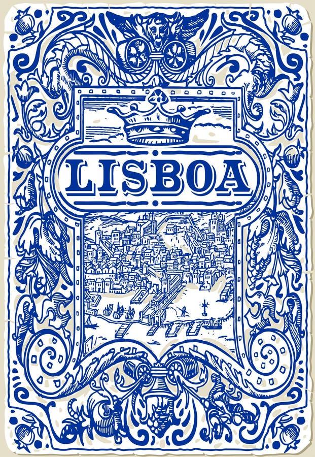 Tuiles traditionnelles Azulejos Lisbonne, Portugal illustration de vecteur