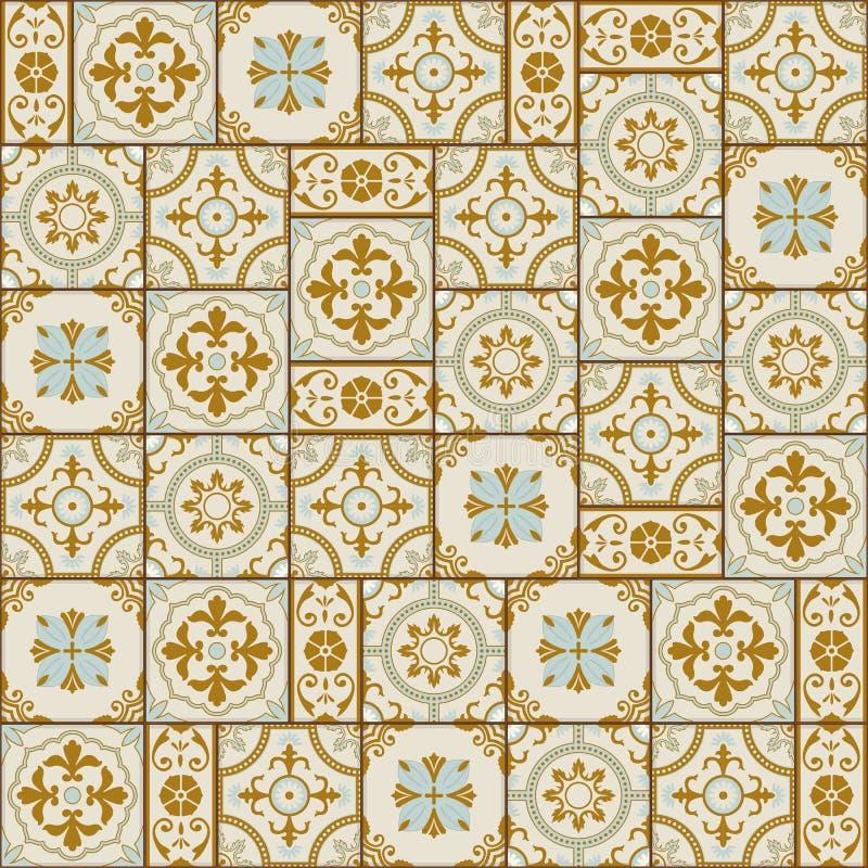 Tuiles turques de modèle sans couture magnifique, marocaines, portugaises blanches, Azulejo, ornement illustration libre de droits