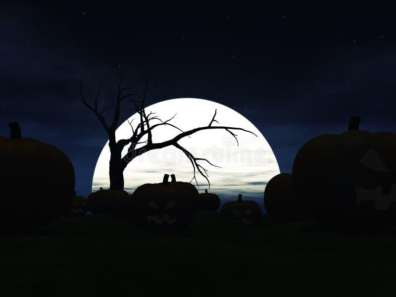Tuin die met Halloween pompoenen bij nacht wordt gevuld. vector illustratie