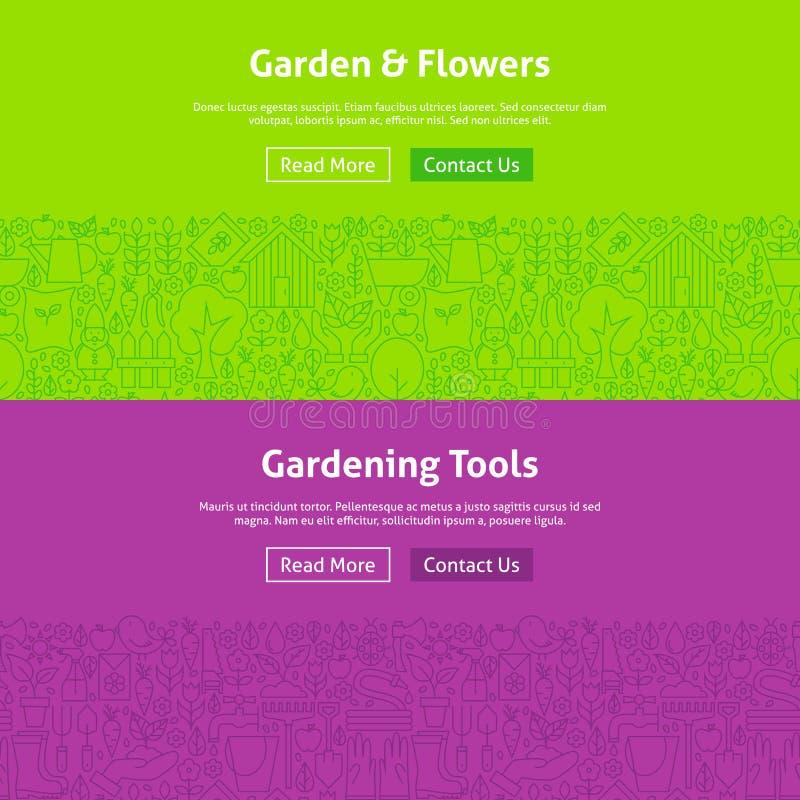 Tuin en Bloemenlijn Art Web Banners Set royalty-vrije illustratie