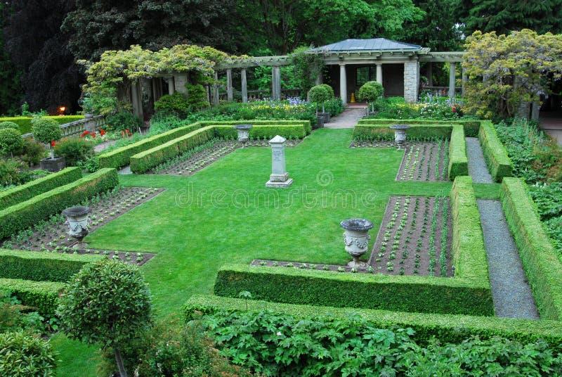 Tuin in kasteel Hatley royalty-vrije stock foto's