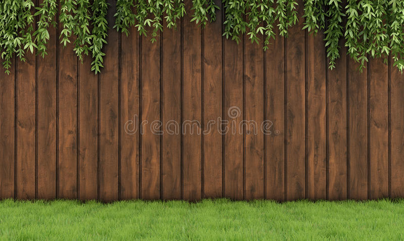 Tuin met oude houten omheining stock illustratie