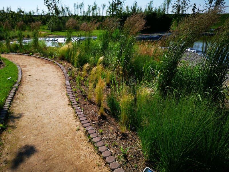 Tuin met schone steeg dichtbij een meer royalty-vrije stock afbeeldingen