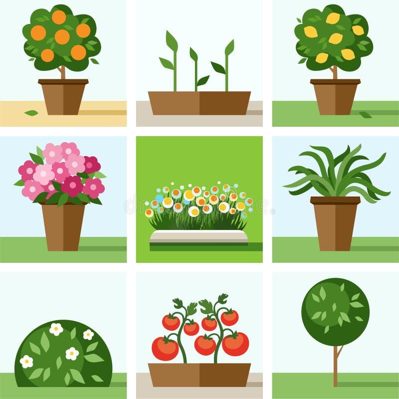 Tuin, moestuin, bloemen, bomen, struiken, bloembedden, gekleurde pictogrammen, stock illustratie