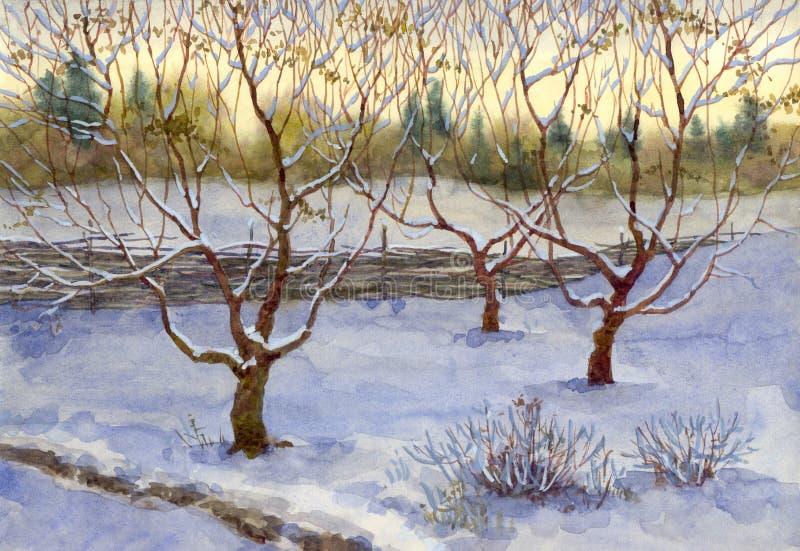 Tuin in sneeuw vector illustratie