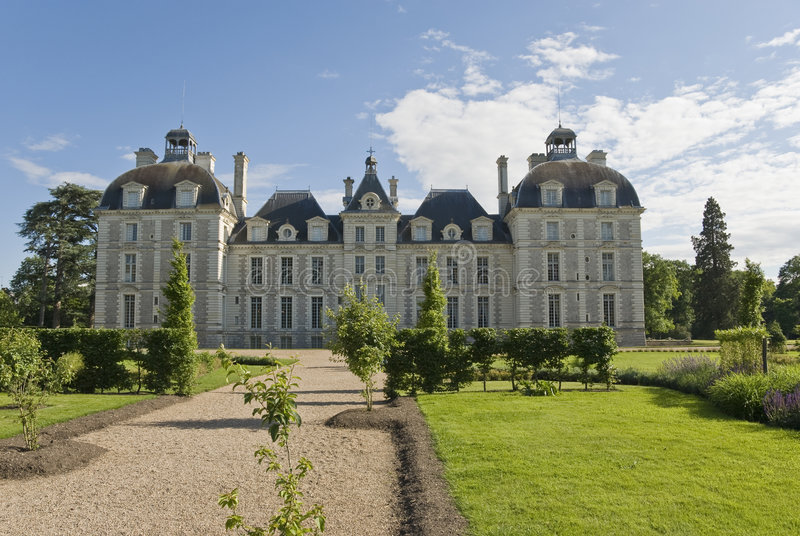 Tuin van Chateau Cheverny stock fotografie