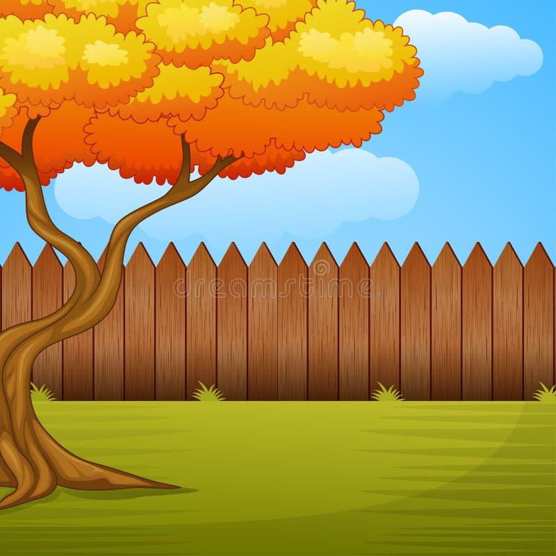 Tuinachtergrond met de herfstboom en houten omheining stock illustratie