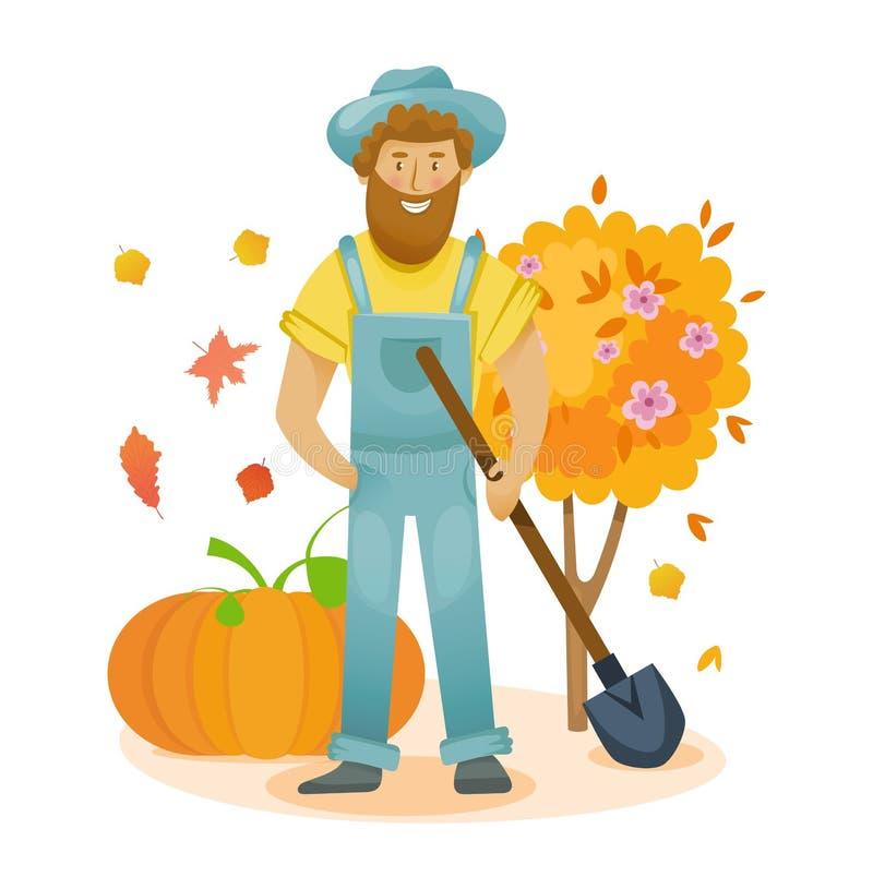 Tuinelementen Organisch landbouwbedrijf Landbouw en de Landbouw De herfstlandbouwindustrie, landbouwgrond stock illustratie