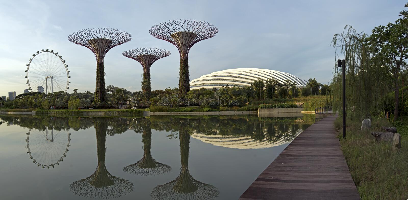 Tuinen door de Baai & van Singapore Vlieger, Singapore royalty-vrije stock afbeeldingen