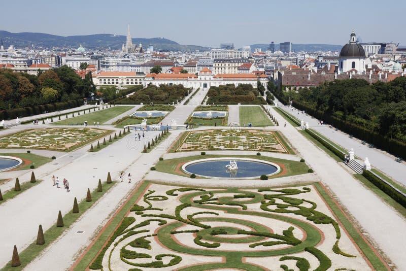 Tuinen van het Belvedere Paleis royalty-vrije stock foto