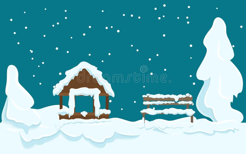 Tuinhuis en Houten die Bank met Sneeuw wordt behandeld royalty-vrije illustratie