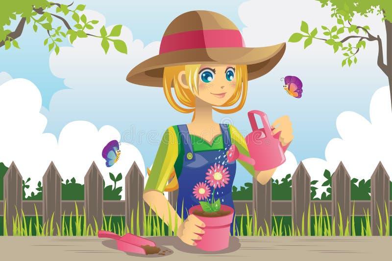 Tuinierende vrouw stock illustratie