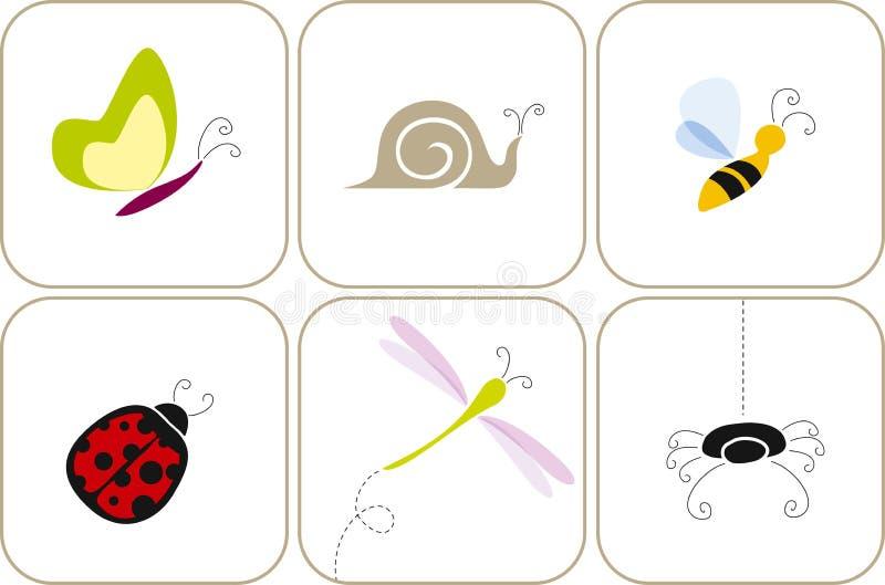 Tuininsecten royalty-vrije illustratie