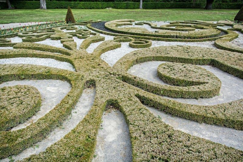 Tuinlabyrint in Schloss Niederweiden in Oostenrijk stock fotografie