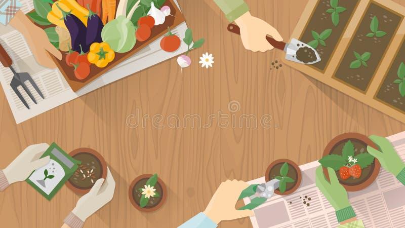 Tuinlieden die samenwerken vector illustratie