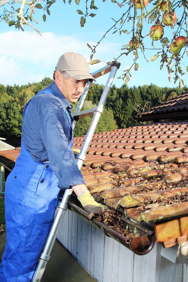 Tuinman die een dakgoot van bladeren schoonmaken royalty-vrije stock afbeeldingen
