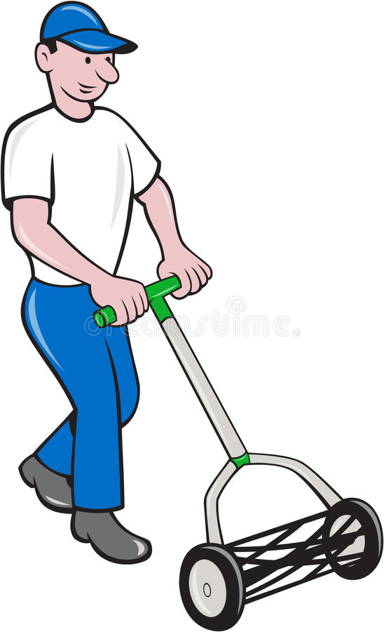 Tuinman Mowing Lawn Cartoon vector illustratie