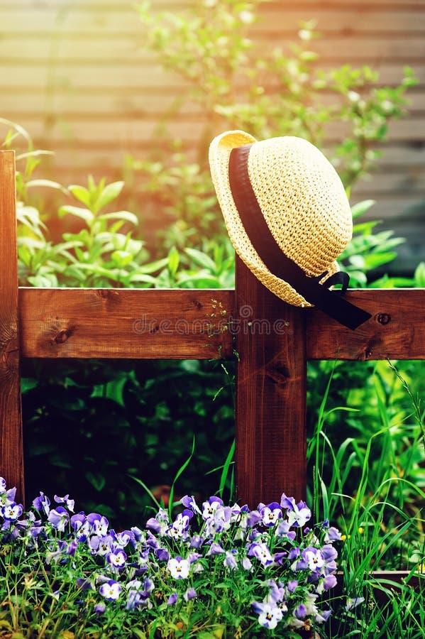 tuinmanhoed op houten omheining in de zomer stock afbeeldingen