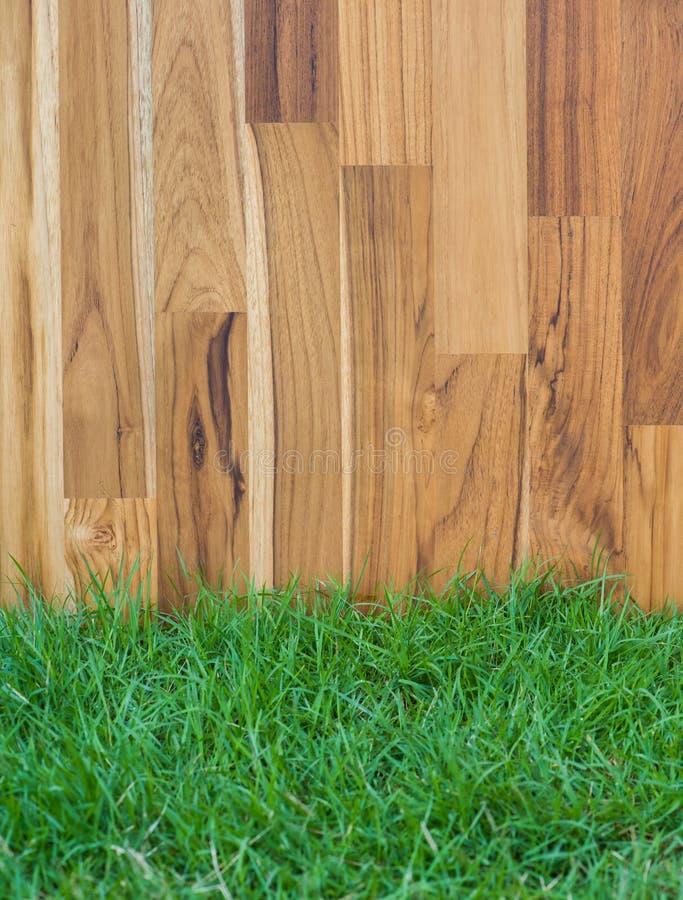 Tuinomheining - houten gras stock fotografie