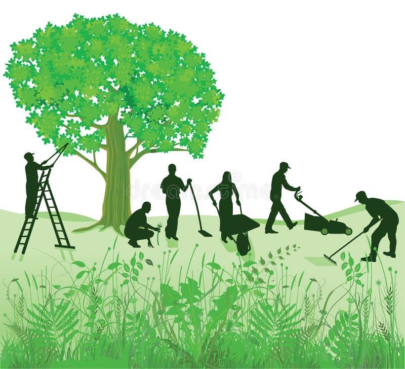 Tuinonderhoud vector illustratie illustratie bestaande for Prijzen tuinonderhoud