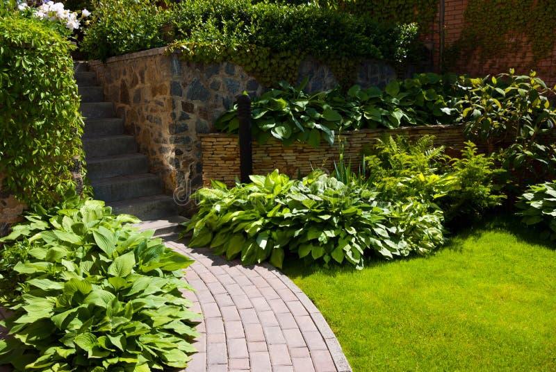 Tuinweg met gras royalty-vrije stock fotografie