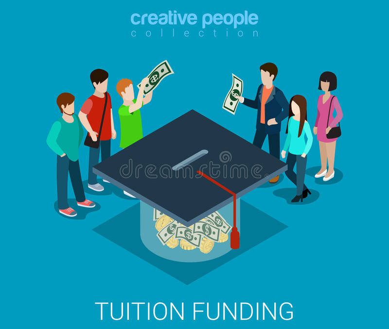 Tuition fee web crowd funding graduate flat 3d isometric vector. Tuition fee web crowd funding platform volunteer concept flat 3d isometric infographic. Group of vector illustration