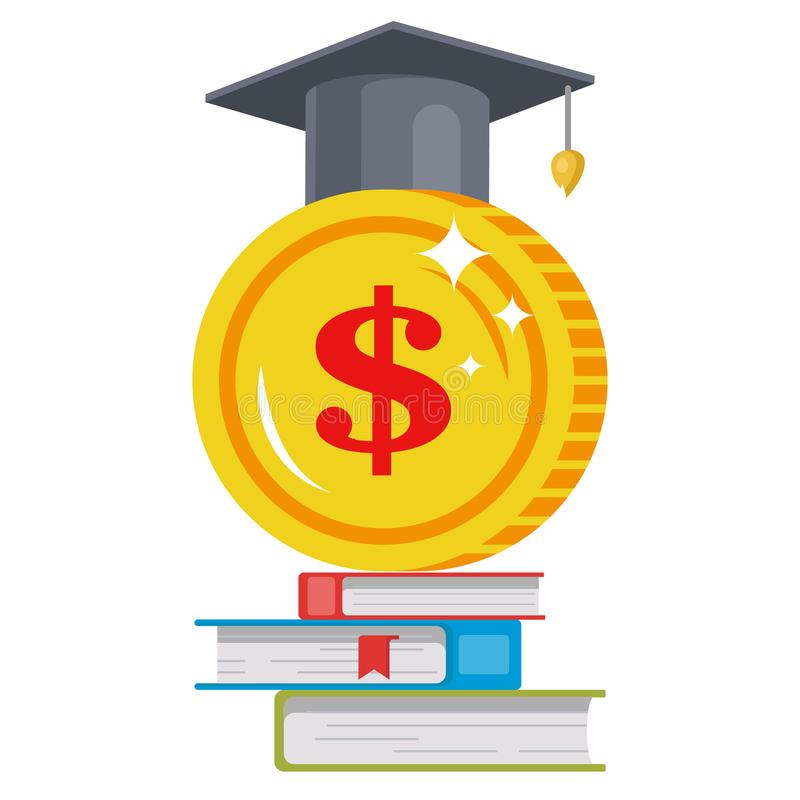 Tuition fees. image of a coin in a hat stock illustration