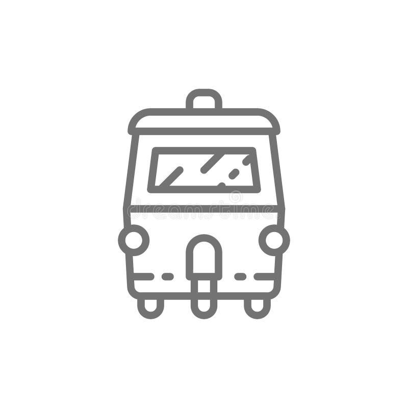Tuk tuk auto, traditioneel openbaar vervoer in de lijnpictogram van Thailand stock illustratie