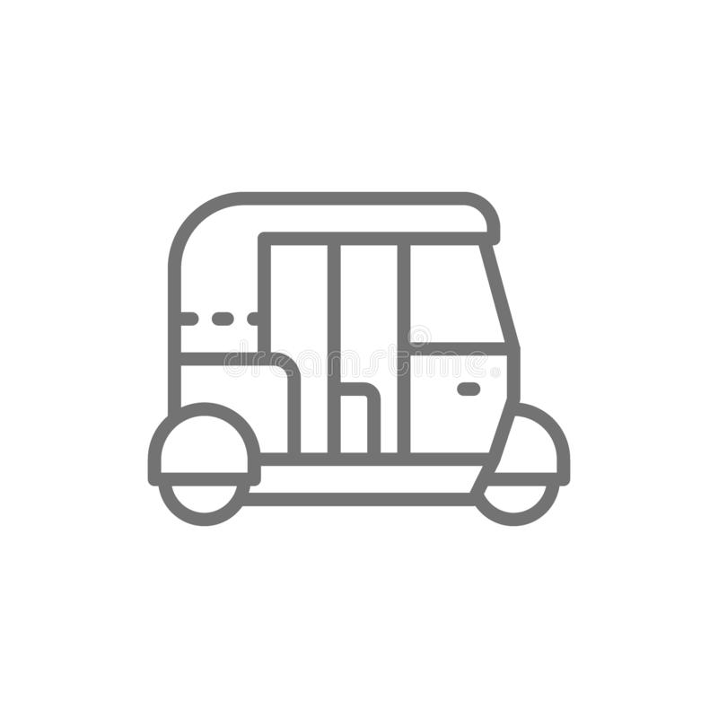 Tuk tuk car, traditional public transport in India line icon. vector illustration