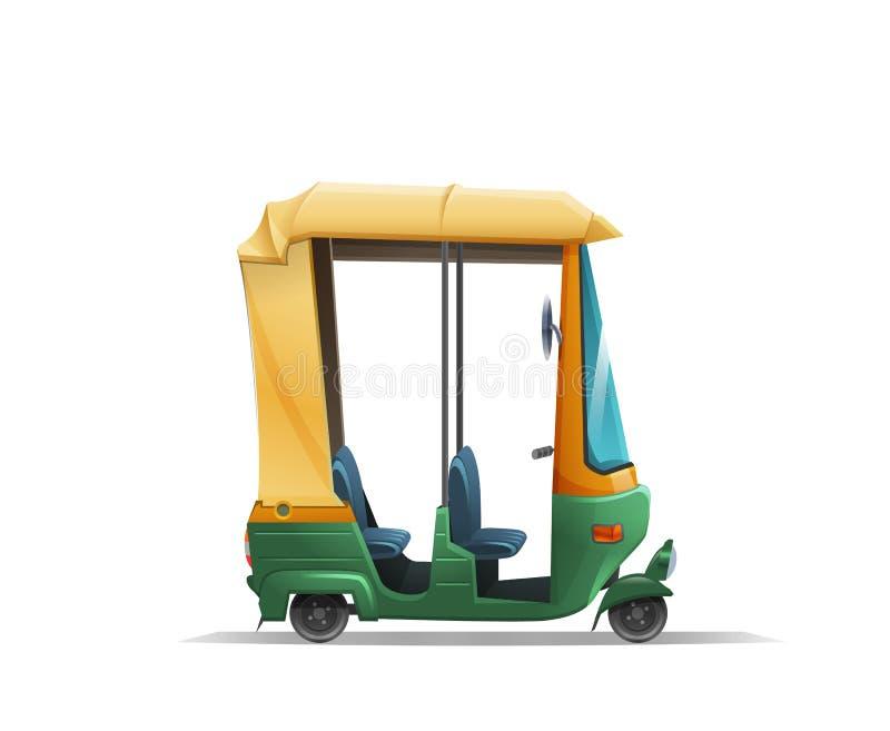 Tuk estilizado lindo del tuk, taxi auto indio del carrito en el fondo blanco libre illustration