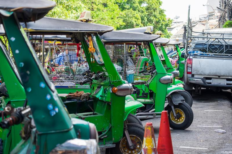 The tuk tuk parked waiting for customers stock image
