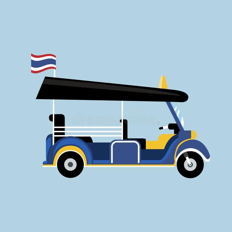 Tuk plat de Tuk dans le vecteur de la Thaïlande avec le drapeau thaïlandais illustration de vecteur