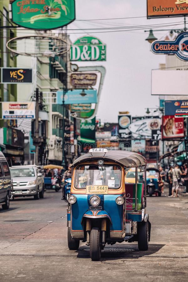Tuk tuk taxi on Kaosan road in Bangkok. royalty free stock photos