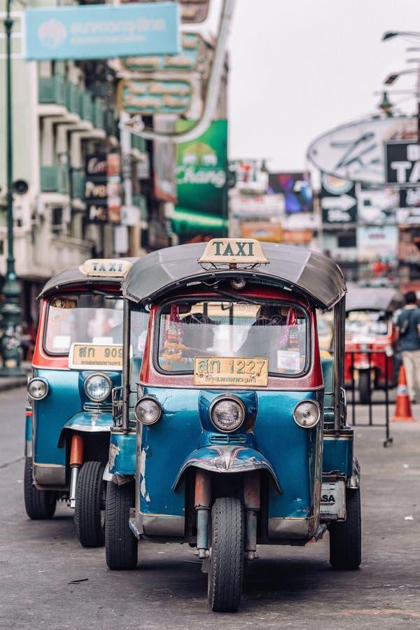 Tuk tuk taxi on Kaosan road in Bangkok. stock image