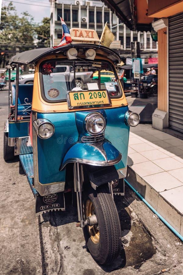 Tuk tuk taxi on Kaosan road in Bangkok. stock photography