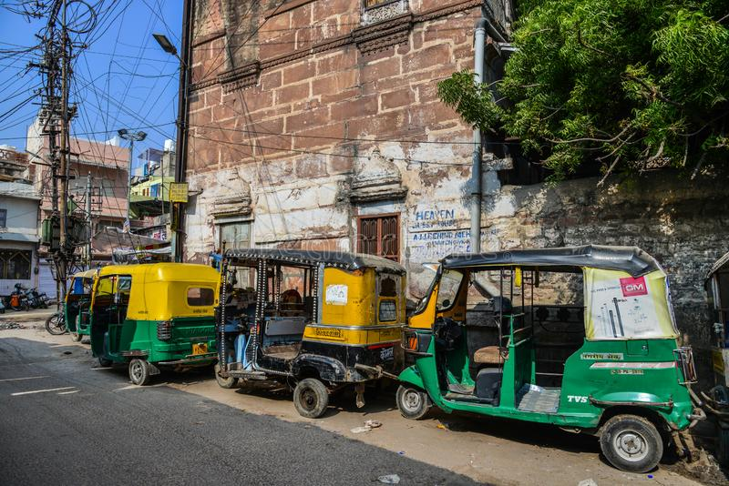 Tuk tuk taxis run on street in Jodhpur, India stock images