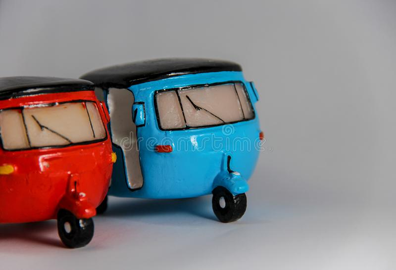Tuk-tuk on white background.Traditional motor tricycle for transport passengers in Asia. stock photos