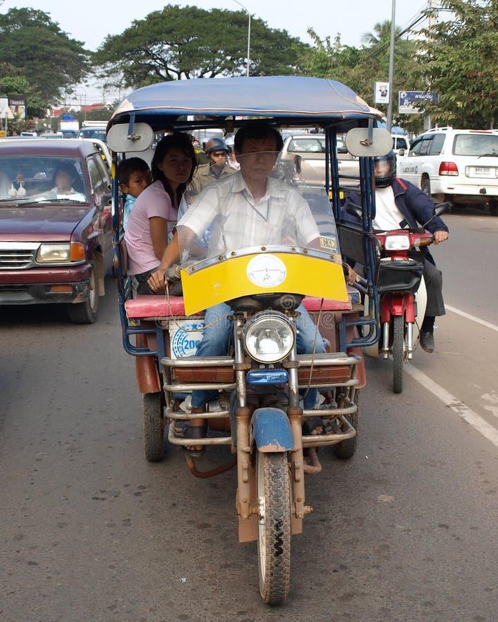 Tuk Tuk出租汽车在老挝 免版税库存照片