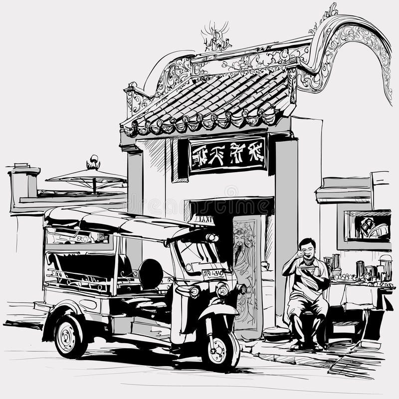 Tuk tuk bestuurder die bij de deur van een Chinese tempel in Bangkok eten royalty-vrije illustratie