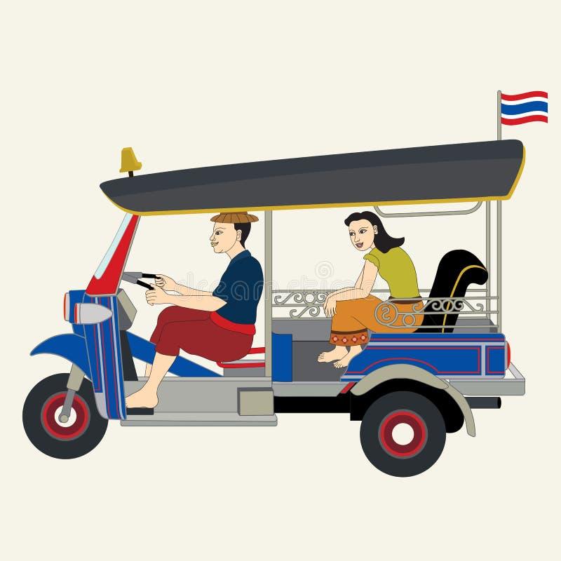 Tuk Tuk bil/thailändsk taxi royaltyfri illustrationer