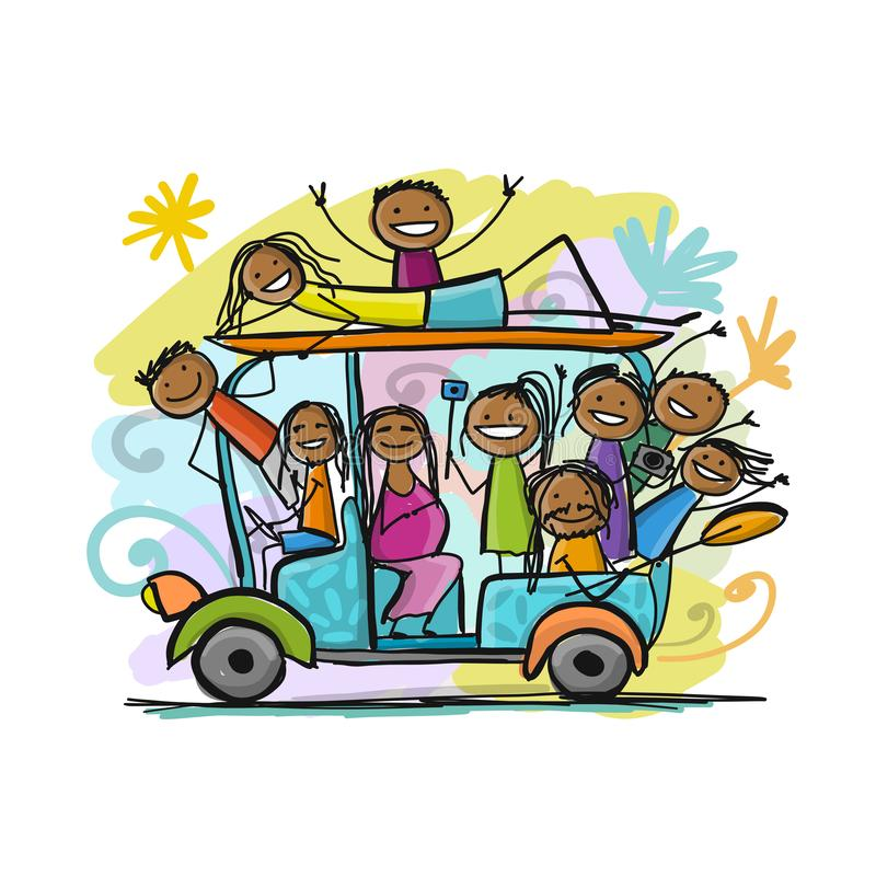 Tuk-tuk with company of friends goes to surfing royalty free illustration