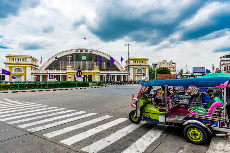 Tuk Tuk in front of Central Railway, Hua Lumpong. Tuk Tuk is the vehicle for travel in Bangkok, like a taxi. Tourist who come to Bangkok are usually interesting royalty free stock photos