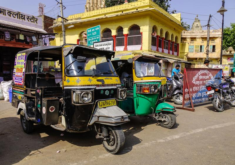 Tuk tuk taxi on street in Jaipur, India stock photos
