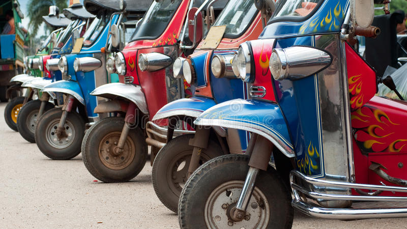 Download Tuk-tuk taxis in Thailand stock image. Image of trishaw - 26363827