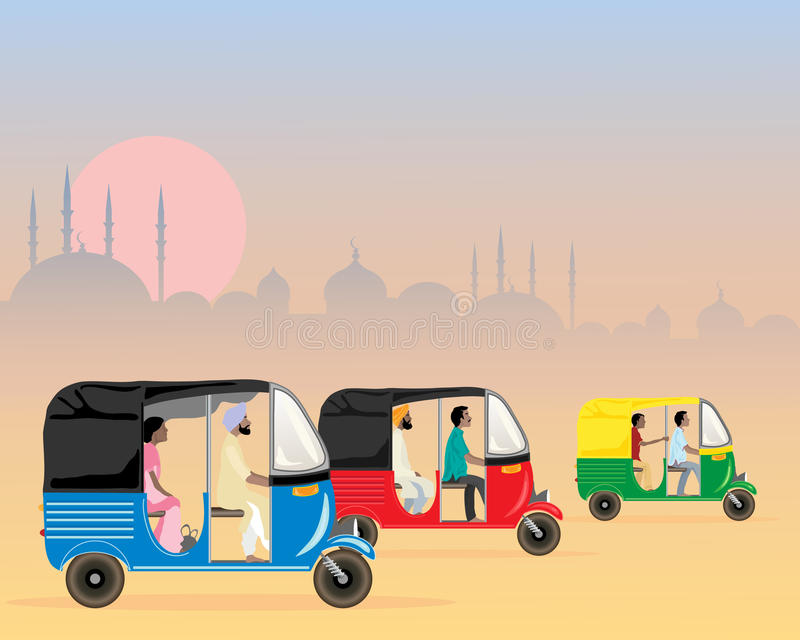 Tuk tuk traffic. An illustration of three colorful asian tuk tuks racing along in a dusty urban setting in the evening at sunset royalty free illustration