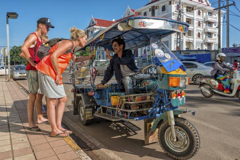 Tuk tuk Vientiane, Laos royaltyfria foton