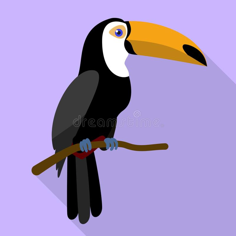 Tukan auf Baumastikone, flache Art stock abbildung