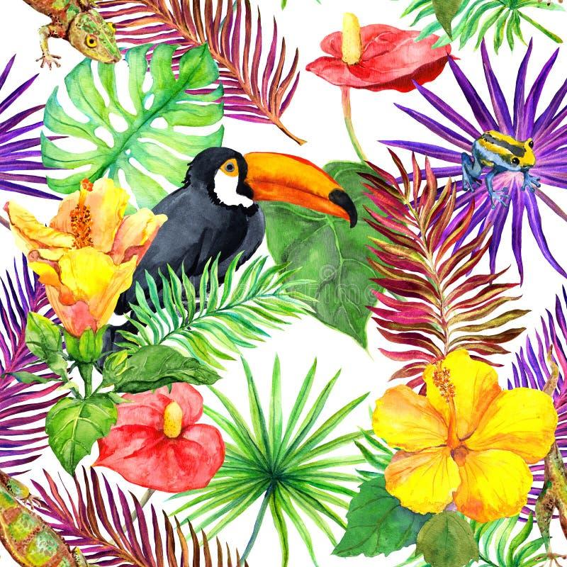 Tukan gecko, tropiska sidor, exotiska blommor seamless djungelmodell vattenfärg vektor illustrationer
