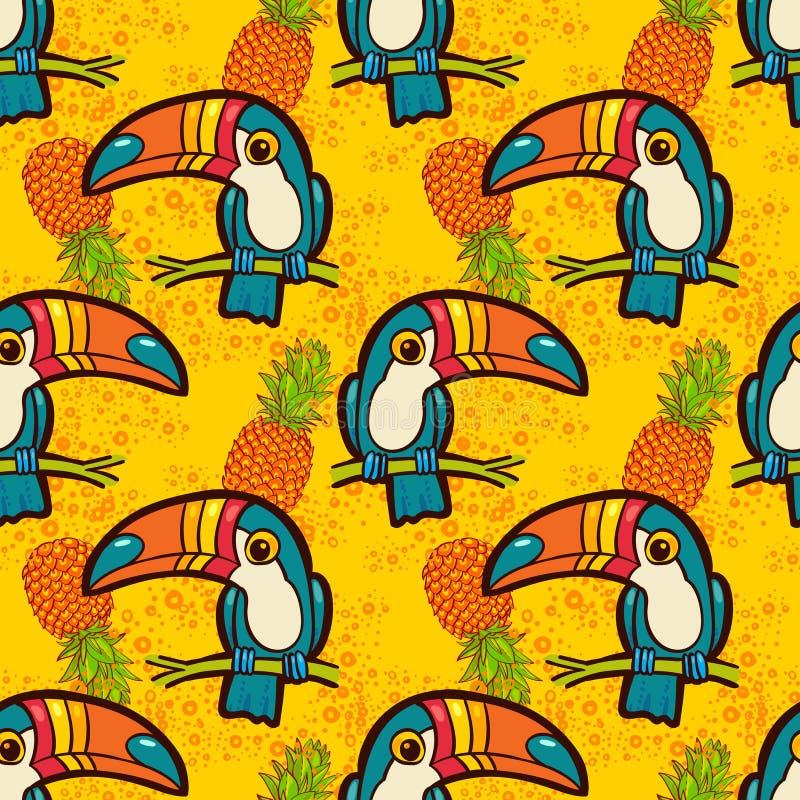 Tukan und Ananas Tropisches grünes nahtloses Muster vektor abbildung
